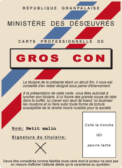 CARTE DU GROS CON